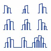 Set Of Building Vector, Building Icons, Building Vector Illustration, Logo Building, Building Line V poster
