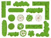 Top View Trees And Bushes. Forest Tree, Green Park Bush And Plant Map Elements Look From Above Isola poster