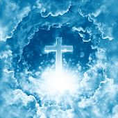 Concept Of Christian Religion Shining Cross On The Background Of Dramatic Cloudy Sky. Divine Shining poster