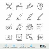 Vector Line Icon Set. Writing, Author, Books Related Linear Icons. Pen And Ink Symbols, Pictograms.  poster