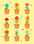 Cute Flower Kawaii Clipart Sticker Set. Floral Plant With Anime Face Various Emoji Design For Green  poster