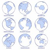 Sketch Earth. Map World Hand Drawn Globe, Earth Circle Concept Continents Contour Planet Oceans Land poster