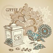 stock photo of wooden box from coffee mill  - Retro coffee background featuring decorative bird grinding coffee beans - JPG