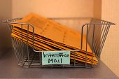 picture of interoffice  - a Closeup of an office mail basket