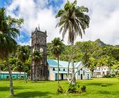 Sacred Heart Roman Catholic Church With A Clock Tower. Colourful Vibrant Old Colonial Capital Of Fij poster
