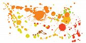 Paint Stains Grunge Background Vector. Futuristic Ink Splatter, Spray Blots, Dirty Spot Elements, Wa poster