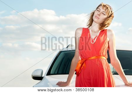 Beautiful Young Woman And Car.
