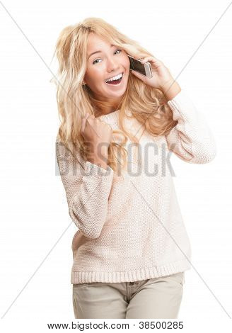 Young Woman Talking On Phone On White Background.