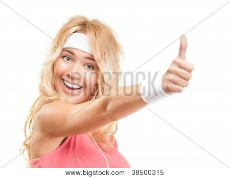Sporty Girl With Thumbs Up On White Background.