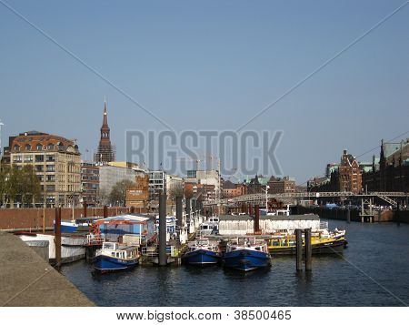 Boats on the Elbe at Hamburg