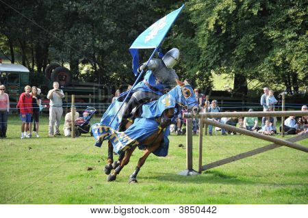 Jousting Show. Rider and horse in