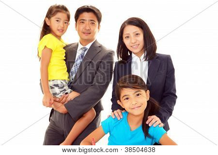Smiling family with teacher