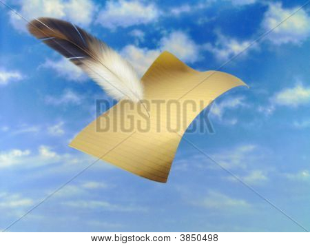 Flying Paper And A Feather