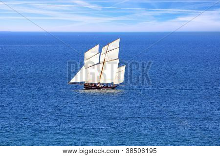 Ship in the Cancale Bay.