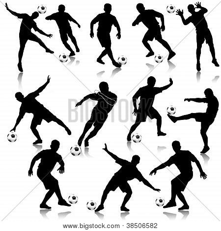 Soccer Man Silhouette Set Eps10 Vector Illustration