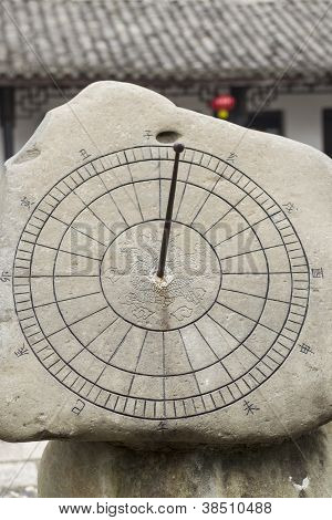 Chinese Sun Dial In Stone