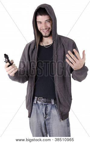 Happy man holding gun