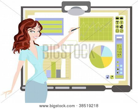 Business Woman With Interactive Whiteboard