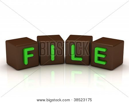 File Inscription Bright Green Letters