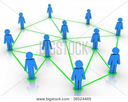 Human Figures Connected As A Network