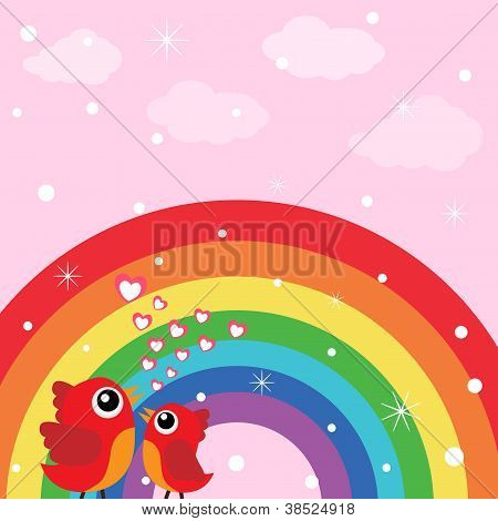 Love bird and rainbow with hearts
