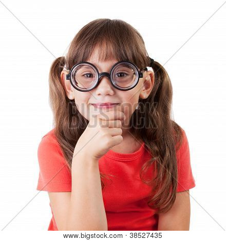 Girl In The Shirt And Round Glasses