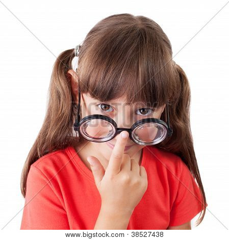 Girl Corrects Glasses On His Nose