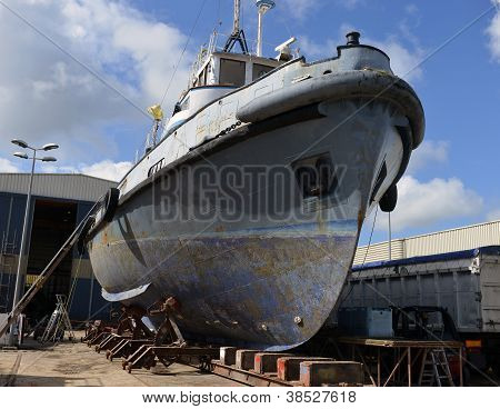 Vessel Under Repair Process In Dry Dock