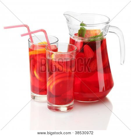 sangria in jar and glasses, isolated on white