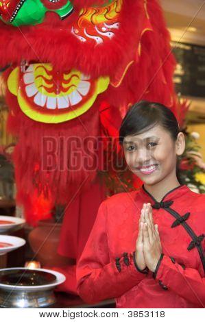 Waitress In Chinese Costume
