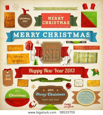 Set of vector Christmas ribbons, old dirty paper textures and vintage new year labels. Elements for Xmas design: santa, balls, mistletoe, gifts, curled corner paper frames. Christmas decorations set.