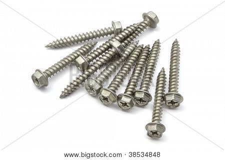 screws closeup on white background