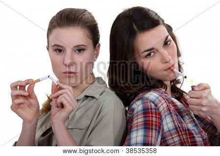 Teenagers smoking and breaking the habit