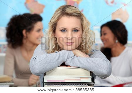 Woman in the classroom with her books