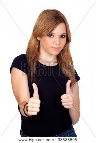 Teen rebellious girl saying Ok isolated on a over white background