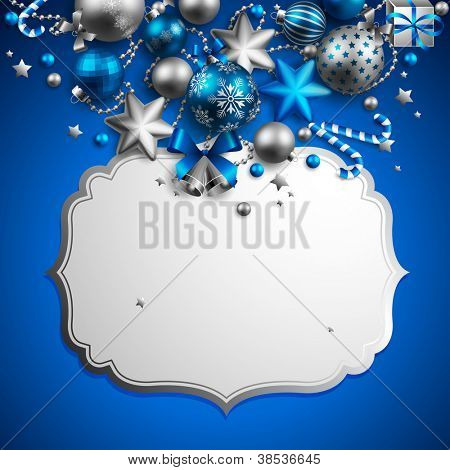 Beautiful blue and silver christmas background. Check my portfolio for vector version.