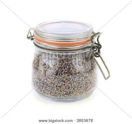 Dried Lavender Flowers In A Glass Jar