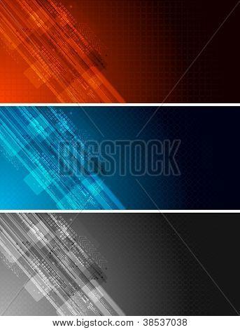 Set of three dark technical banners