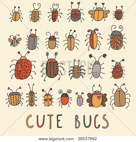 Cute bags. Cartoon vector set