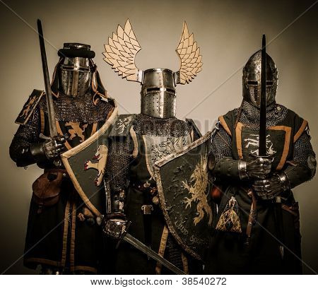 Three medieval knights