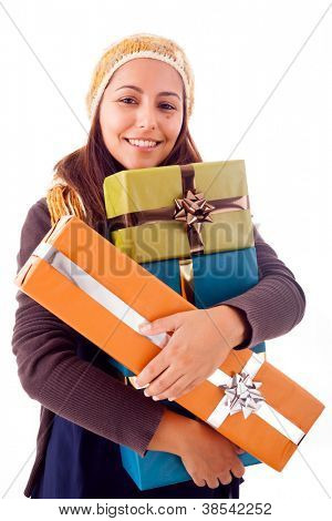 Beautiful young woman holding a gifts, isolated on white