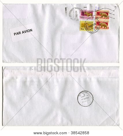 RUSSIA - CIRCA 2012: Mailing envelope with postage stamps dedicated to animals, and the reverse side, circa 2012.