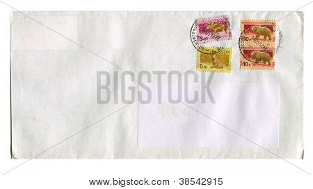 RUSSIA - CIRCA 2012: Mailing envelope with postage stamps dedicated to Rat,Bear and Elk, circa 2012.