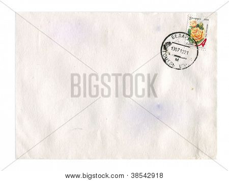 BELARUS - CIRCA 2008: Mailing envelope with postage stamps dedicated to Rosa Nebrida, circa 2008.