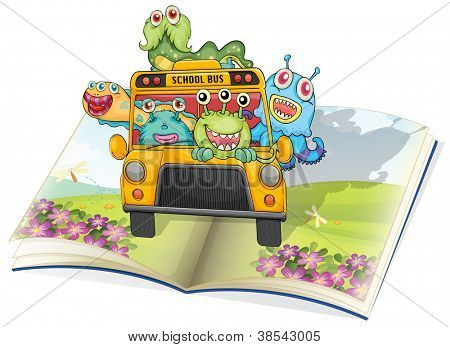 illustration of monsters, school bus and book on a white background