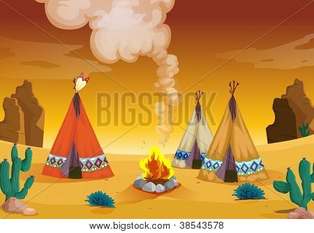 illustration of a tent house and fire in a desert