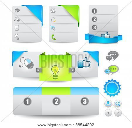 Collection of web elements, menu item, carousel, icons, ribbons, template for headers, footers,bar, side bar and so on.