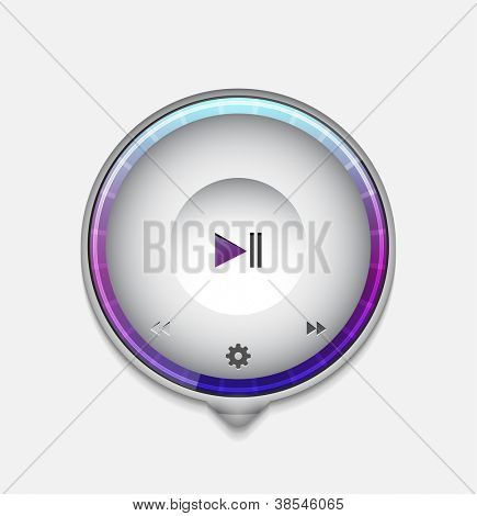 Multimedia player UI tooltip. Detailed vector illustration