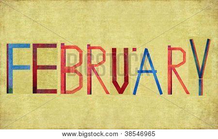 """Erdigen Hintergrund und Design-Element mit das Wort """"Februar"""""""