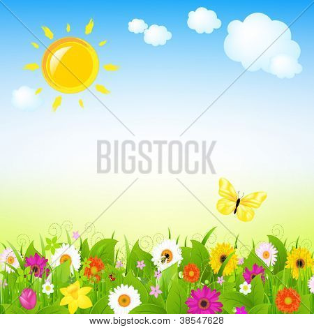 Sun And Flowers With Cloud, Vector Illustration